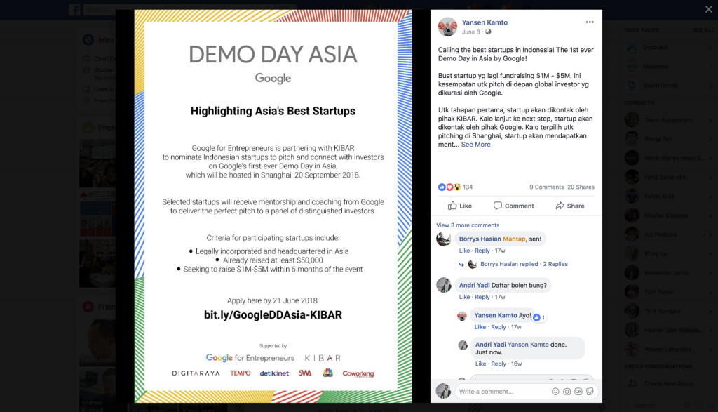 A Facebook post announcing Demo Day Asia